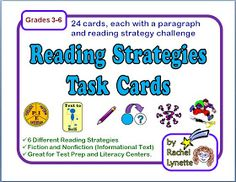 Minds in Bloom: Reading Strategy Task Cards - FREE Comprehension Strategies, Reading Strategies, Reading Skills, Teaching Reading, Reading Comprehension, Free Reading, Teaching Ideas, Guided Reading, Literacy Strategies