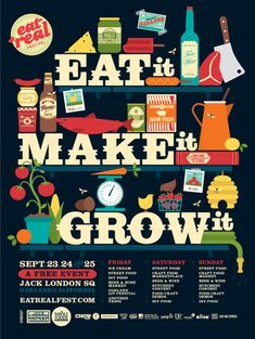 Illustration created by Jayde A. Cardinalli and Carl Bender for Oakland's Eat Real Festival #design #food #typography