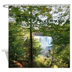 Waterfall scenery Shower Curtain on CafePress.com