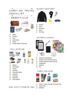 Carry-On Tote Packing List. I won't need a lot of this stuff, but it's still good to have this reference list