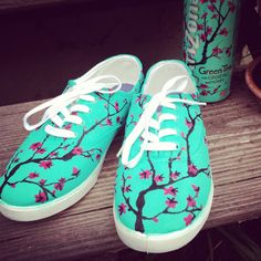 Arizona Green Tea Themed Painted Shoes by JessiKundrickShoeArt, $40.00