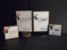 "stampin up ""Baby we've grown"" set, regular A2 cards and 3x3 cards"