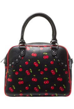 Sourpuss Cherry Bowler Bag Handbag Pinup Rockabilly Christmas Retro
