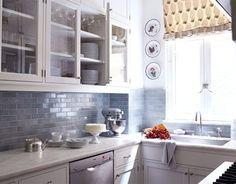 Gray kitchen blue backsplash; blue may be too dark