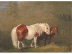Probably Shetland ponies. Don't know the artist Animal Paintings, Horse Paintings, Oil Pastel Colours, Horse Illustration, Mediums Of Art, Horse Books, Oil Painting Techniques, Horse Silhouette, Pony Rides