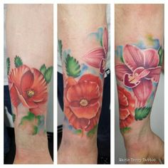 Watercolour flower tattoo marie terry