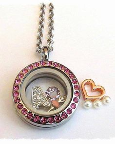 South Hill Designs Swarovski Embellished Mini Pink Locket , June Birthstone, Ballerina charm , Crystal Letter A charm, also pictured is the rose gold open heart and 3 pack Vanill Pearl Accents,  Design your very own at http://www.southhilldesigns.com/andreabrindley