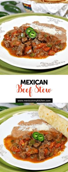 How to make Beef Stew Mexican Beef Stew This is a popular dish in the northern states of Nuevo Leon and Coahuila and its very similar to the carne guisada dish made in the border towns of Texas. It consists of finely diced beef slow cooked in a toma Authentic Mexican Recipes, Mexican Food Recipes, Soup Recipes, Cooking Recipes, Ethnic Recipes, Recipes With Diced Beef, Mexican Desserts, Cooking Tips, Easy Recipes