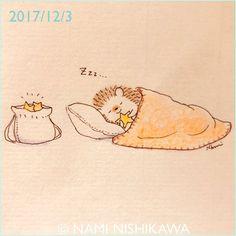 1351 おやすみ Good night. #illustration #hedgehog #イラスト #ハリネズミ #なみはりねずみ
