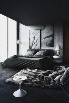 Black And White Apartment Bedroom Color Ideas Discover More Image on my website. men 34 Fascinating Black and White Apartment Bedroom Ideas For you Men's Bedroom Design, Bedroom Colors, Home Decor Bedroom, Men Bedroom, Bedroom Bed, Cozy Bedroom, Bed Design, Daybed Room, Interior Livingroom