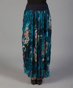 Look what I found on #zulily! Navy & Turquoise Floral Pleated Maxi Skirt #zulilyfinds