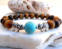 Elephant Tigers Eye bracelet, Elephant bracelet, Tigers Eye bracelet, Yoga bracelet, Protection bracelet, Good Luck bracelet