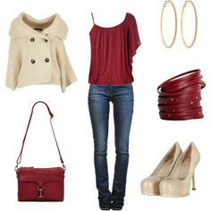 'Red outfit ensemble'