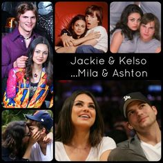 Ashton Kutcher, Mila Kunis, Jackie and Kelso forever! #that70sshow #truelove #babybump then and now