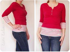DIY refashion 2 shirts into 1 shirt tutorial http://kervikelawett.over-blog.com/article-un-t-shirt-couvre-reins-122926883.html