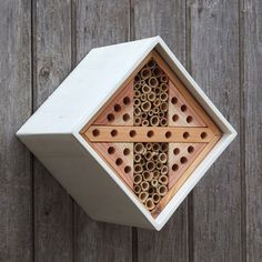 Attract solitary bees with this Bee Nester. They are fantastic for flower and garden pollination and have a fascinating life cycle which you can observe by installing this bee nester. Bug Hotel, Carpenter Bee Trap, Bee Traps, Purple Martin House, Raising Bees, Mason Bees, Bee House, Beneficial Insects, Bee Keeping