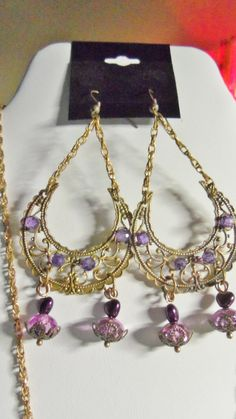 Buy Purple Necklace and Earrings Set by spiritracer. Explore more products on http://spiritracer.etsy.com