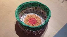 Basket made from recycled plastic bags