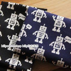 m272_55-  robot fabrics  - cotton linen fabrics - Half Yard - 2 colors by billycottonshop0413 on Etsy