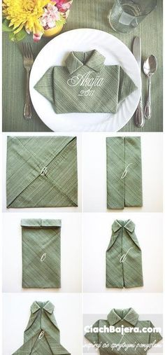 The T-Shirt Fold for Napkins. (too cute for a Fathers Day dinner) 28 Creative Napkin Fold Techniques. T Shirt Folding, Folding Napkins, How To Fold Napkins, Paper Napkin Folding, Deco Table, Cloth Napkins, Paper Napkins, Diy Shirt, Dinner Table