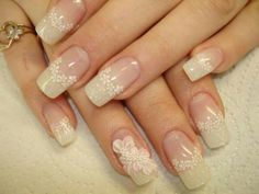 French nails with flowers Sexy Nail Art, Lace Nail Art, Elegant Nail Art, Elegant Nail Designs, Lace Nails, Sexy Nails, Beautiful Nail Designs, Trendy Nails, Flower Nails