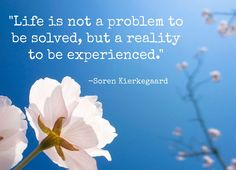 """Life is not a problem to be solved, but a reality to be experienced.""   -Soren Kierkegaard"