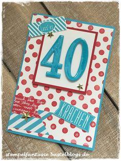 Stampin Up_Geburtstag_Karte_birthday_card_40_Punkte_Tuerkis_Glutrot_Stempelfantasie