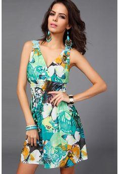 Green Floral Print Boho Style Dress