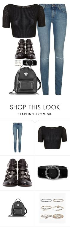 """Sem título #4880"" by fashionnfacts ❤ liked on Polyvore featuring Yves Saint Laurent, Topshop, Givenchy, Versace and Boohoo"