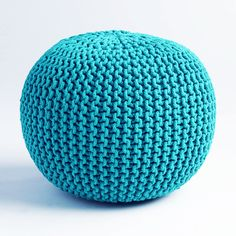 Cable Knit Pouf - Teal   dotandbo.com I WANT THIS I WANT THISSSSSS  IT'S LIKE A FOOTREST! A PRETTY FOOTREST!