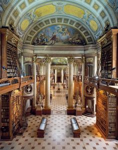 The ceremonial room, the heart of the Austrian National Library, is one of the most beautiful library halls in the world. It is the biggest Baroque library in Europe.