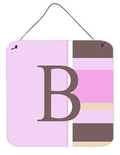 Letter B Initial Monogram - Pink Stripes Wall or Door Hanging Prints
