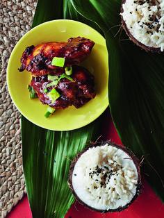Huli huli -kanaa, toimii myös hyvin seitanista.