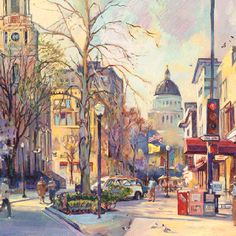 an idealized painting of a view in Sacramento-- lovely!