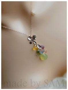 Monogram leaf bridesmaid necklace  orchid flower  by madebysam, $59.98