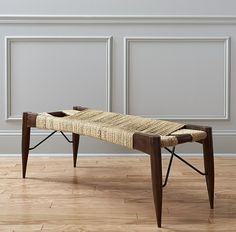 Tribal bench inspired by traditional Indian cots greens the room in natural materials. Jute rope warps/wefts varying tones over open frame handcrafted of solid sustainable acacia wood. Open Frame, Mortise And Tenon, Acacia Wood, Cot, Natural Materials, Rustic Wood, Bench, Dining Table, Traditional