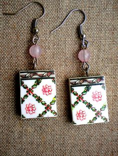 Portugal  Antique Azulejo Tile Replica Earrings from by Atrio,