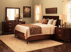 This contemporary Kian 4-piece king platform bedroom set with storage bed demonstrates that the little details are as important as the overall design. It exudes fine craftsmanship and quality with its cathedral and flat-cut walnut veneers; brushed-nickel hardware; full-extension, English dovetailed drawers with ball-bearing guides; and cedar-lined bottom drawers in the dresser.
