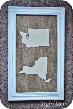 DIY Fabric Map Art - I love the burlap plus add the states where parents are from...