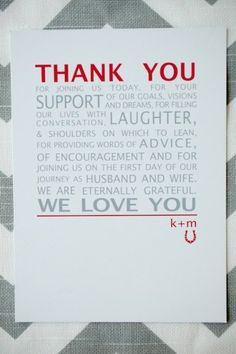 sweet thank you note for your guests (Credit: A Little Something Detailed)