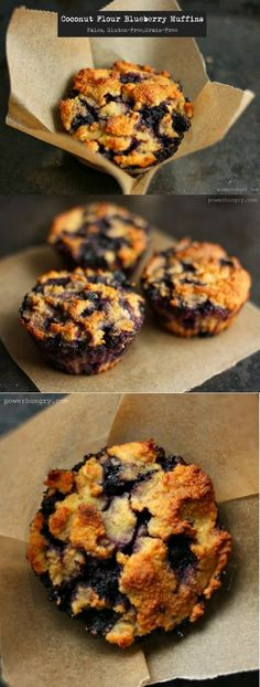 Coconut flour Blueberry muffins (gluten free, Paleo) - Food and Drink Easy Paleo Dinner Recipes, Healthy Diet Recipes, Healthy Baking, Healthy Desserts, Paleo Ideas, Simple Recipes, Healthy Options, Vegetarian Recipes, Healthy Food