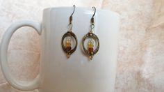 Vintage style brass dangle earrings by BelleandRee on Etsy