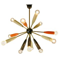 Italian 1950s Brass Sputnik | From a unique collection of antique and modern chandeliers and pendants  at http://www.1stdibs.com/furniture/lighting/chandeliers-pendant-lights/