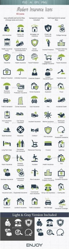 Business infographic : Business infographic : Modern  Insurance Icons #design Download: graphicriver.ne
