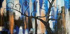 Custom painting with the customer's last name in the shape of tree branches. Custom Paint, Tree Branches, Bee, Shapes, Gallery, Artwork, Painting, Etsy, Work Of Art