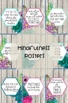Watercolor Succulent Themed Posters with positive affirmations for your students!