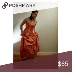 "Salmon two-piece ball gown Corset top Salmon Pink Model height 5'4"" Red-carpet worthy Dresses Prom"