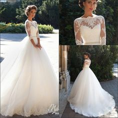2016 New Elegant 1/2 Long Sleeves Lace A Line Wedding Dresses Tulle Lace Applique Beaded Sash Court Train Wedding Bridal Gowns With Buttons Wedding Dresses For Older Brides Wedding Gown Designs From Enjoyweddinglife, $135.92| Dhgate.Com