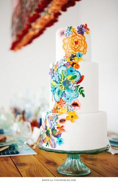hand-painted florals structured patterns watercolor wedding cake