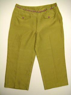 695c4529bcd3 ECI New York Wide Leg Pants Women Size 10 Green Silk Slacks Jewelry Chain  Belt #ECI #Wide #Casual